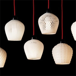 Trying to repair an IKEA lamp using his desktop 3D printer, Samuel Bernier got carried away and designed a whole collection of plastic lampshades.
