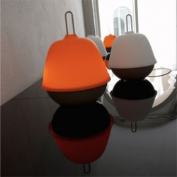 Lucile is a lamp by the french designer Sylvain Rieu-Piquet. Base in matt grey lacquered steel; matt opaline glass shade or double shade - opaline + matt orange; transparent cable.