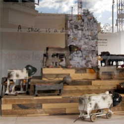 A Shoe Is A Dog's Best Friend - James Plumb for London's Selfridges' Windows ~ assemblage dog lamps and dog photography...