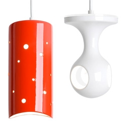 J Schatz's Pendant lights ~ liking the CILINDRO and the PEEKABOO in pendant form... glossy ceramic earthenware!