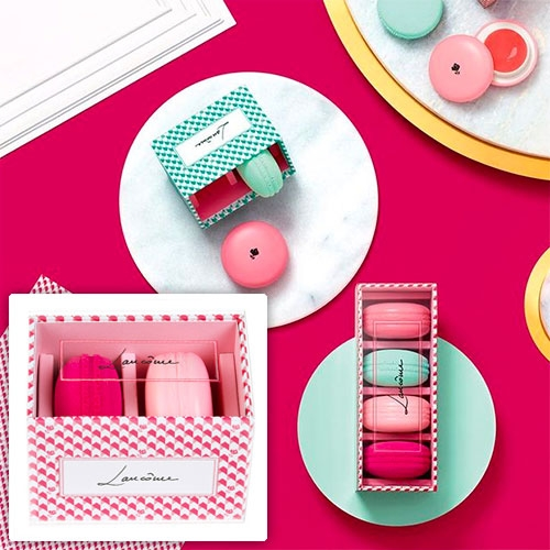 Lancome Le Teint Macaron Sets - Blush & Blender duos and quartets. A macaron shaped blender sponge, and a creamy blush in macaron shaped packaging.