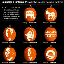 Political Pumpkin Carving Templates ~ and for those who are confused, i consider politics personal/private and not NOTCOT business (but please vote) ~ and we are about what is creative and interesting to see!