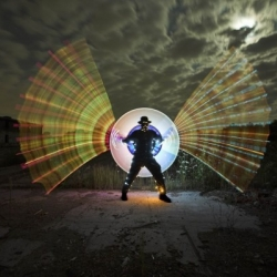 The Light art performance photography (LAPP), is a one-shot long time bulb exposure Photography, performed additionally with movement of Light.
