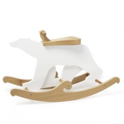 So Cute - polar bear rocker by netto collection - Meet Rufus the Polar Bear! A sweet rocker from the Arctic Circle. White lacquer, veneered plywood and natural oak.