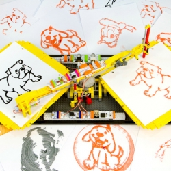 The Spinning Replicator by Arthur Sacek is a copy machine made out of littleBits and LEGO. It can scan an illustration and draw a copy of it without any kind of programming, just littleBits, LEGO elements and a marker.