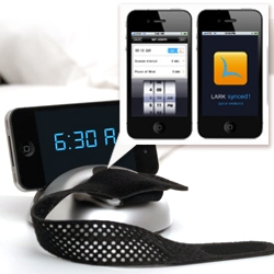 'Lark' is a silent (vibrating wristband) + iPhone app waking up system for couples or heavy sleepers.  Designed with a renowned Harvard Sleep expert and built by engineers from MIT and Stanford.