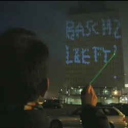 the graffiti research lab created a program that allows laser writing on buildings!