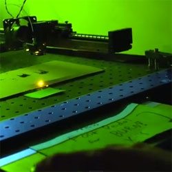 Laser Craze, a laser cuter with etch-a-sketch like controls by Nick Leindecker of the Stanford Optical Society.