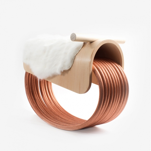 Epona is a rocking horse for the modern child. Crafted from recycled copper cable, hand-finished Canadian maple wood, and rabbit fur, Epona is an interactive piece of children's furniture that fits a more modern design taste.