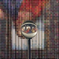 After The  Last Supper, 20736 spools of colored thread become Da Vinci's famous painting when viewed thru a crystal ball.