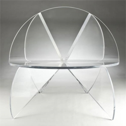 Laurie Beckerman's beautiful Butterfly Chair made from clear acrylic.
