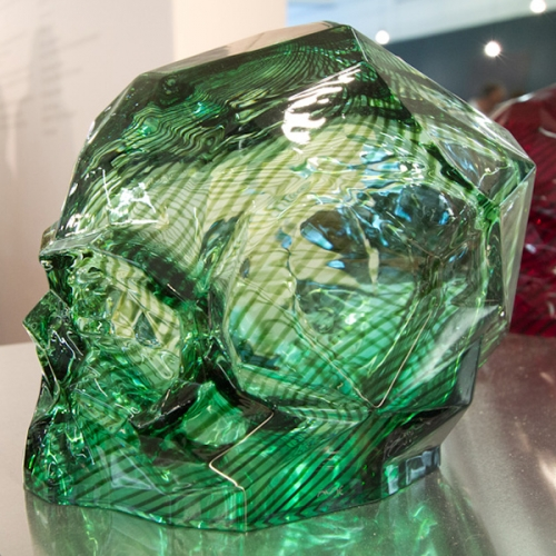 Nude Glass Memento Mori Faceted Skulls by Ali Bakova as seen at London Design Week.