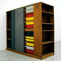 A nice touch of color on Charlotte Perriand and Le Corbusier's  Wardrobe, (1956-59) Available at Galerie Patrick Seguin.