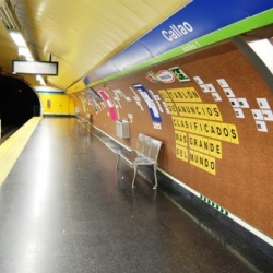 A spectacular (and useful) advertisement for eBay ads. A massive cork board was pasted up over the entire interior surface of a subway station in Madrid, creating a fully-functioning classified bulletin board as a real world representation of eBay ads.
