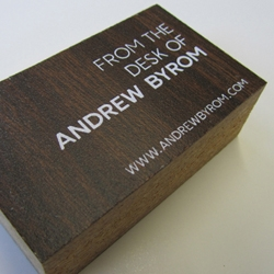 When graphic and type designer Andrew Byrom decided it was time for a new desk, he thought of a rather novel way to recycle the old one, chopping it up to make giant business cards