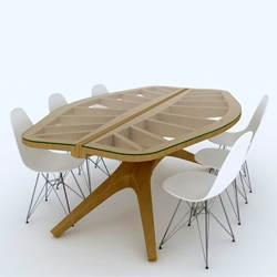 Amsterdam based architect John Lonsdale designed the leaftable. Inspired by boat, butterfly and leaf, the table is a horizon into which found objects can be placed. The table is made from laminated hardwoods.