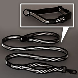 Go Dog Glow Stunt Puppy leashes and collars exclusively for Domestic Beast. Fun, minimal reflective line!