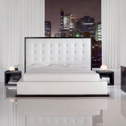Really digging the white leather on this bed from Modloft. The 5' headboard would make quite a statement in a bedroom!