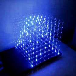 Create your own 8x8x8 LED Cube 3-dimensional display following this Instructable.