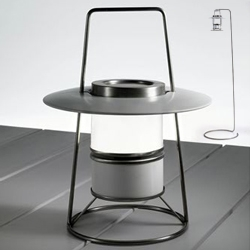 'Lanterna' by Carlo Tamborini for CORO.  Portable glass and stainless steel LED lantern with optional base/stand.