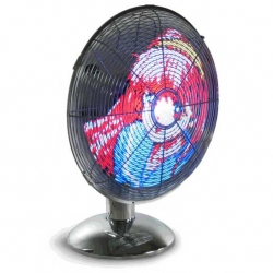 ThinkGeek's LED Art Fan plays animated images that your download from your computer onto the blades of a rapidly spinning fan.