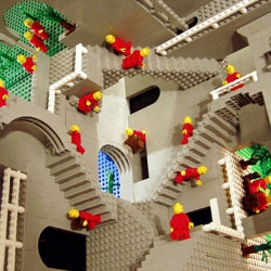 "The famous Escher's ""Relativity"" in LEGO®  by Andrew Lipson"