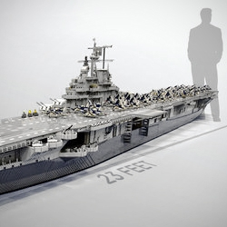 Images and video of a 23-foot-long Lego USS Intrepid replica Ed Diment made  to scale, complete with Wildcat and Corsair airplanes built by Ralph Savelsberg.