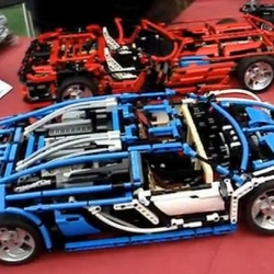 Remote Controlled Lego Bugatti Veyron with a working seven-speed gearbox.