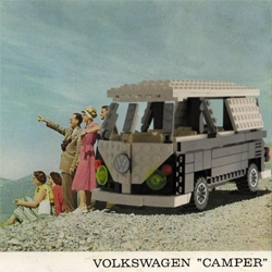 There is something so fascinating about this retro lego set VW Camper box image... check out the gallery to see images of the real lego camper as well!