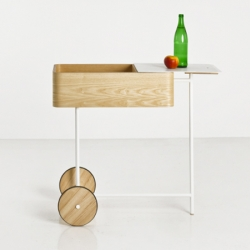 Cart by bao-nghi droste design. The mobile storage unit is an interpretation of the traditional tea trolley, and split-top allows for both usable surface area as well as storage.