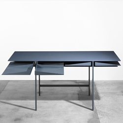 Folia Desk designed by Leon Ransmeier, has drawers slightly angled to produce a tessellated appearance, and for easier handling of the compartments.