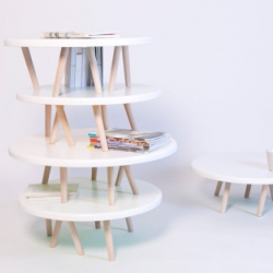 Trable is a minimal coffee table designed by London-based designer Kawamura Ganjavian. As the Trables are stacked up upon each other, they begin to form an amorphous shelving system.