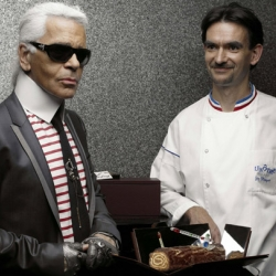 Karl Lagerfeld has teamed up with French baker's Lenotre to release a holiday log cake.