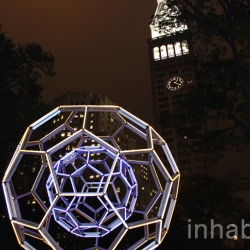 New photos of Leo Villareal's giant glowing LED Buckyball. It's finally up in NYC!
