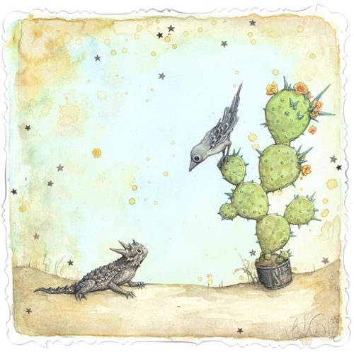 Leontine Greenberg Horned Lizard and Mockingbird painting!