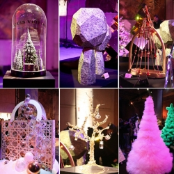 Gucci, Dior, Gaultier and Hermes are among the 26 designer Christmas trees created to benefit charity for the 15th Les Sapins de Noel des Createurs.