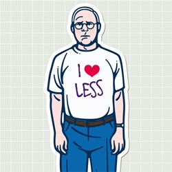 'Love less' by Italian designer Gianfranco Setzu is a sticker project celebrating Dieter Rams, pioneer of minimalism. The sticker is starting to travel all over the world can be customized by whoever comes across one.