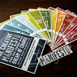 The Creative Manifesto 2014 Letterpress Calendar - for all those who dream of change or just want to enjoy life. Limited to 500 copies, hand numbered, 13 cards printed on 700g color plan white frost paper.