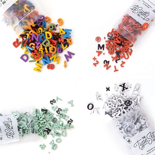 The Type Set Co Magnetic Letters ~ in a rainbow of colors, both serif and sans serif, and hard ABS plastic or soft foam.