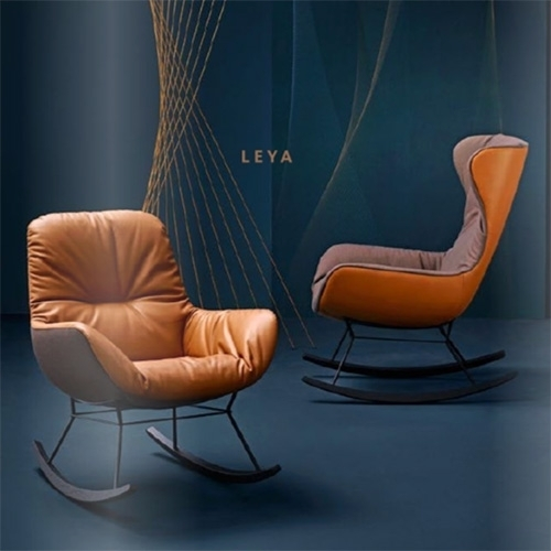 FREIFRAU Leya Rocking Wingback Chair and Rocking Lounge Chair designed by Birgit Hoffmann and Christoph Kahleyss look lusciously loungey (and would make a perfect modern cozy leather nursery chair that doesn't scream baby)