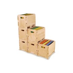 LOVE these Jigsaw file cubes.  They're stackable, rollable (with optional wheels), collapsible, and made from sustainably harvested wood.