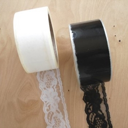 Lace packing tape, in black or white.