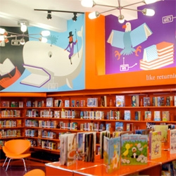 "Pentagram's Murals for The Library Initiative - ""Christoph Niemann's murals at P.S. 69 in Clason Point, the Bronx. Concealed in every image are one or more books."""