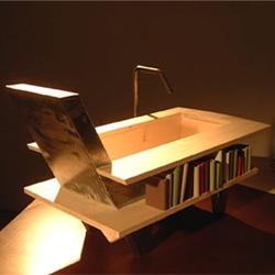Is it a bathtub? Is it an armchair? Is it a bookshelf? It is the new Library Bath by Swedish designer Malin Lundmark!