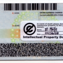 Become an Intellectual Property Donor by adding this sticker to your driver's license.