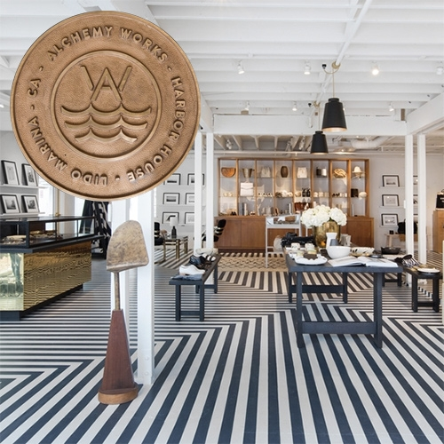 The black and white stripey floors! Take a peek inside the newest Alchemy Works (with sister company Apolis pop-up) in the new Lido Marina Village, Newport Beach, CA.