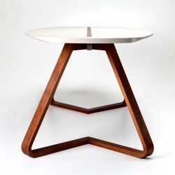 Lif, table with a bent plywood base, designed by Mete Erdem from Turkey.