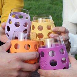 Lifefactory expands their silicone/glass line to include wine glasses! Playful, rugged, and dishwasher safe!