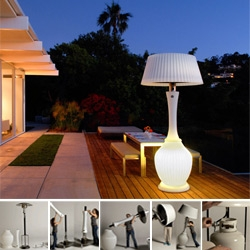 Kindle Heat Lamps ~ they look like gorgeous larger than life lamps for your outdoor areas, providing not only heat, but also light and even cocktail tables to cluster around. See how simple they are to assemble too!