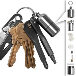 A tiny lighter, screwdrivers, crowbar, tweezers and more that fit right on your keys ~ Kauffman Mercantile EDC Kit.